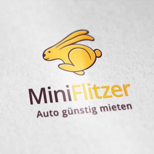 Logo Auto Mieten Auto Flitzer Schneller Hase | Lustiges Logo kaufen | LogoAtelier.eu