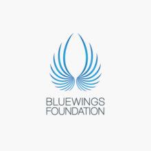Logo Blaue Flügel Schutz Freiheit | Logo kaufen | LogoAtelier.eu