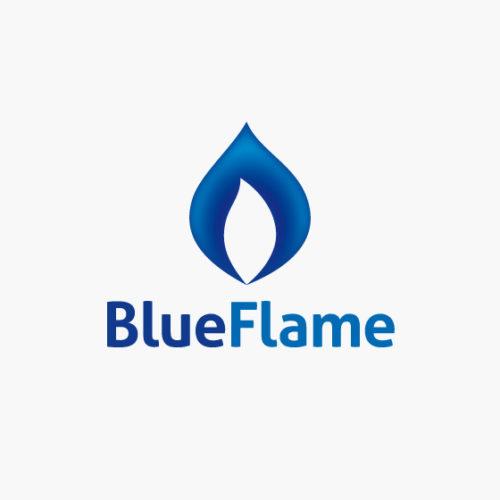 Logo Blaue Flamme kalt heiss fertiges Logo kaufen Logoshop Logoatelier.eu