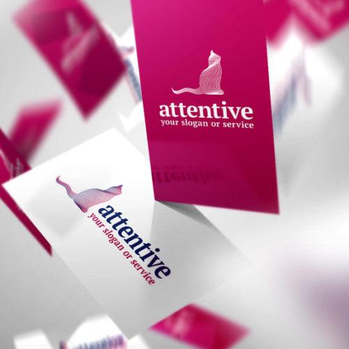 Logo Katze Aufmerksam Achtsam Linien Elegantes Logo kaufen LogoShop LogoAtelier.eu