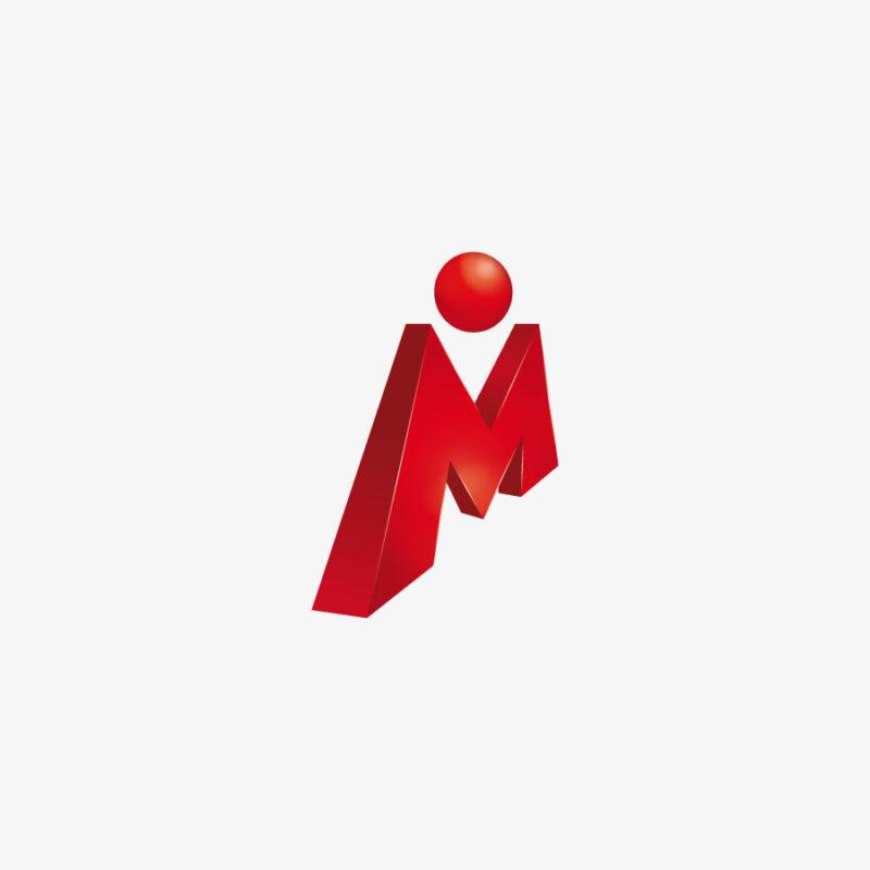 Logo Buchstabe M Mensch Rot Bein Tanzen 3D Logo Fettes Logo kaufen LogoShop LogoAtelier.eu