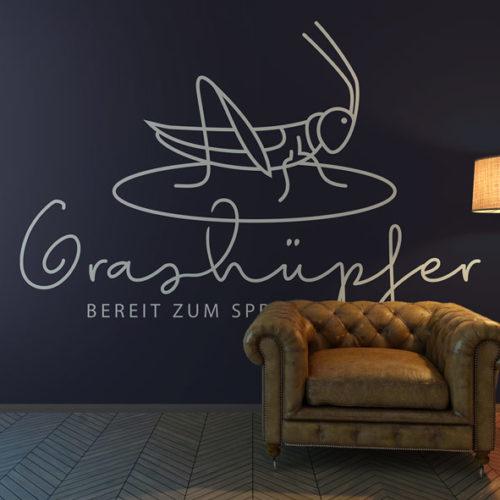 Logo Grashüpfer Insekten Beine Springen Sprung Heuschrecken Grille Kraft Bereit sein Neues wollen Cooles Logo kaufen LogoShop LogoAtelier.eu