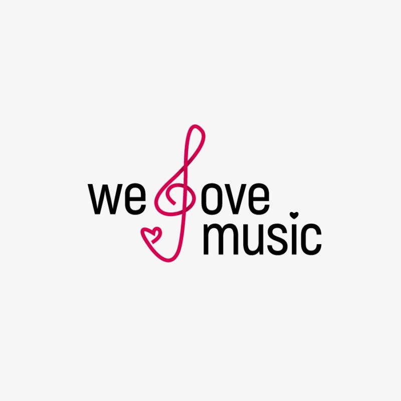 Logo Love Music Musik Kunst Kultur Notenschlüssel Liebe Herz Musizieren Fertiges Logo kaufen LogoShop LogoAtelier.eu