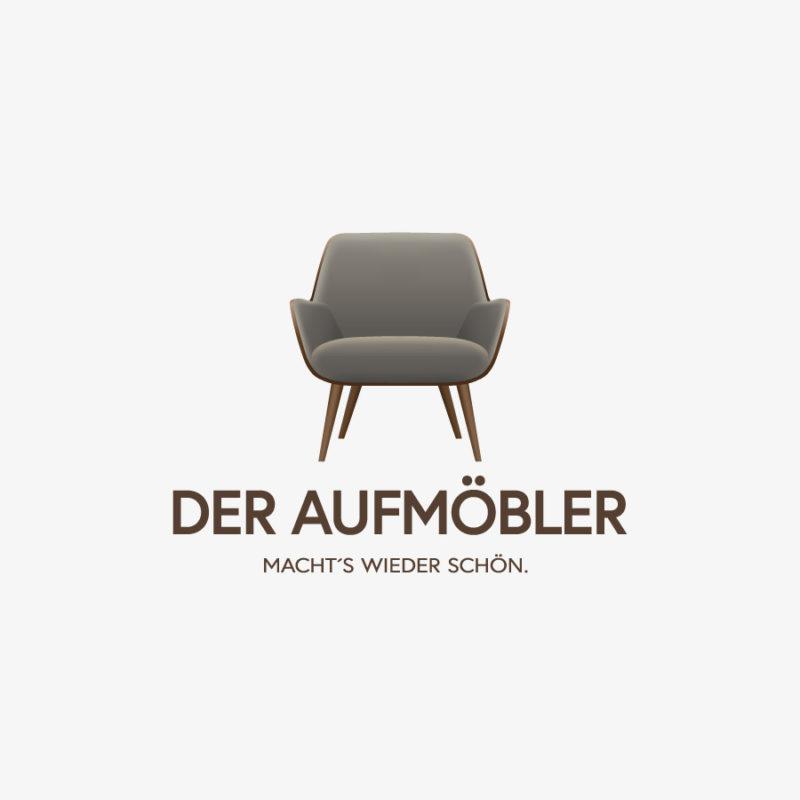 Logo Möbel-restaurieren aufmöbeln Sessel Couch Sofa Handgemachtes Handwerker Holz Schreiner Tischler Sessel Sitzen Werkstatt Wohnen 3D Logo Edeles Logo kaufen LogoShop LogoAtelier.eu