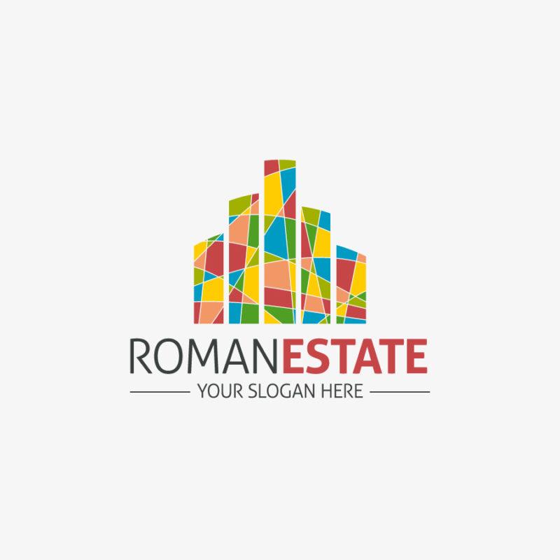 Logo Real Estate Bunt Immobilien Haus Häuser Fertiges Logo kaufen LogoShop LogoAtelier